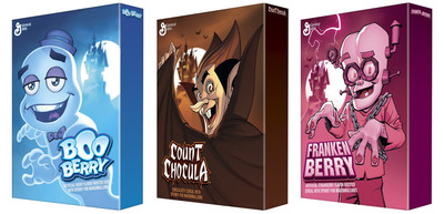 Count Chocula(TM), Franken Berry(TM) and Boo Berry(TM) Monsters Cereals have a brand new look—thanks to an exciting partnership with General Mills and DC Comics. (PRNewsFoto/General Mills)