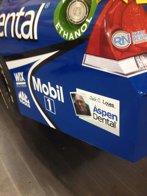 Jack Campbell, a patient of the Aspen Dental Manchester, NH practice, will have his photo featured on Ryan Newman's No. 39 Aspen Dental Chevrolet during this weekend's NASCAR Sprint Cup Series Sylvania 300 at New Hampshire Motor Speedway in Loudon, NH.  (PRNewsFoto/Aspen Dental)