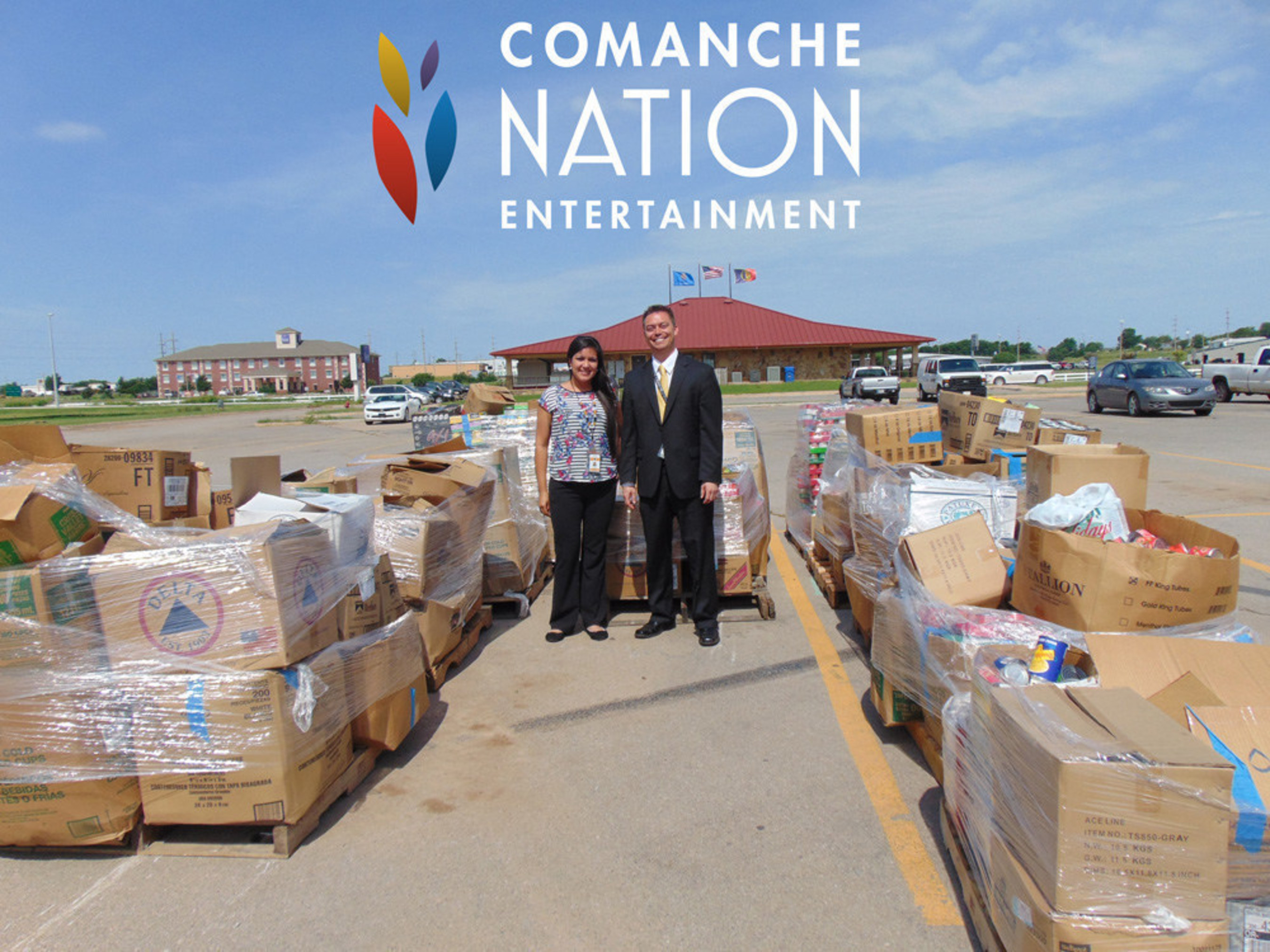 The food drive organized by Comanche Nation Entertainment Oklahoma casinos delivered 66,591 cans of food to victims of recent floods.