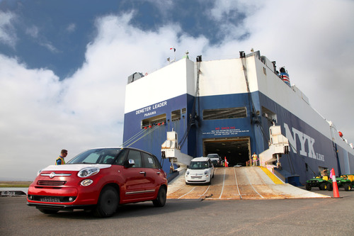 The all-new 2014 Fiat 500L Arrives at the U.S. National City Port of San Diego on the Demeter Leader Vessel.  (PRNewsFoto/Chrysler Group LLC)