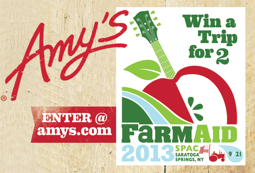 Win a trip for 2 to Farm Aid 2013 from Amy's Kitchen. Enter at amys.com.  (PRNewsFoto/Amy's)