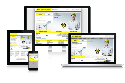 With its new responsive design, Hertz Equipment Rental Corporation's website Hertzequip.com can be easily accessed by customers via a touch-screen mobile device, tablet or PC.  (PRNewsFoto/The Hertz Corporation)