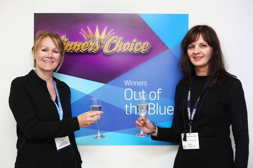 IGT CEO Patti Hart and the University of Iceland Lottery CEO Bryndis Hrafnkelsdottir toast the 20th anniversary  ...