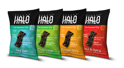 Ocean's Halo(TM) Seaweed Chips are now available in Los Angeles and throughout Southern California at Vons, Bristol Farms, Gelson's and More! (PRNewsFoto/New Frontier Foods Inc.) (PRNewsFoto/NEW FRONTIER FOODS INC.)