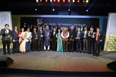 Winners of the Asia Pacific Entrepreneurship Awards 2016 with General VK Singh, Minister of State for External Affairs of India, and Tan Sri Dr Fong Chan Onn, Chairman of Enterprise Asia. The Asia Pacific Entrepreneurship Awards is the region's most prestigious awards for entrepreneurship and is held in 14 countries across Asia.