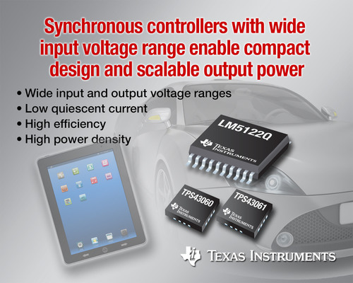 Three new controllers from Texas Instruments with wide input voltage range enable compact design and scalable output power. The LM5122Q multi-phase boost controller features the industry's widest input and output voltage range. The low quiescent-current TPS43060 and TPS43061 boost controllers feature 1-MHz operation and a small QFN package.  (PRNewsFoto/Texas Instruments Incorporated)