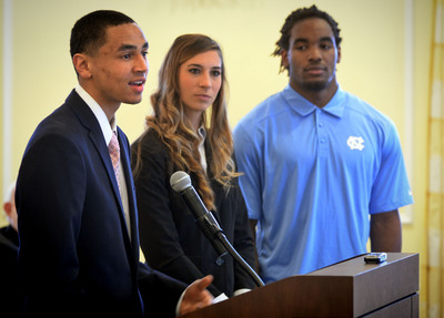 Student athlete Marcus Paige answers a question during the meeting of the Board of Trustees 3/27 at the University of North Carolina at Chapel Hill. In background are Lori Spingola and Kemmi Pettway. Photo credit: the University of North Carolina at Chapel Hill.