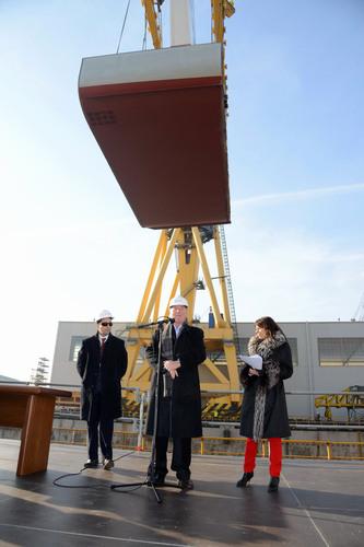 Viking Cruises Chairman Torstein Hagen (center), with employees of Fincantieri's Marghera shipyard, at the ...