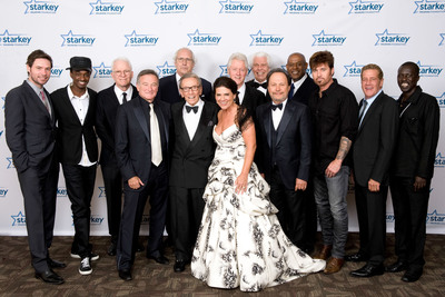 Pictured Left to Right: Michael Johns, K'NAAN, Steve Martin, Robin Williams, Chevy Chase, Norm Crosby, Tani Austin, President Bill Clinton, Bill Austin, Billy Crystal, Forest Whitaker, Billy Ray Cyrus, Glenn Frey and Okello Sam at Starkey Hearing Foundation's 12th Annual So the World May Hear Awards Gala.  (PRNewsFoto/Starkey Hearing Foundation)