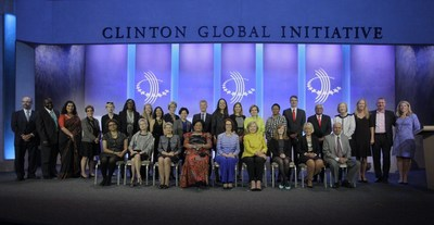 Plan International's Tessie San Martin, President and CEO of Plan International USA, at today's Clinton Global Initiative Annual Meeting. Dr. San Martin joined Secretary Hillary Clinton and the Honorable Julia Gillard for the launch of Girls CHARGE!, a program committed to addressing the second generation of issues that prohibit girls from going to and staying in secondary school. (PRNewsFoto/Plan International)
