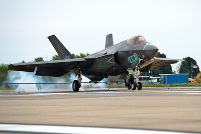 F-35C aircraft CF-3 makes a fly-in arrestment landing at Naval Air Station Patuxent River, Maryland. Lockheed Martin photo by Dane Wiedmann (PRNewsFoto/Lockheed Martin Aeronautics Co.)
