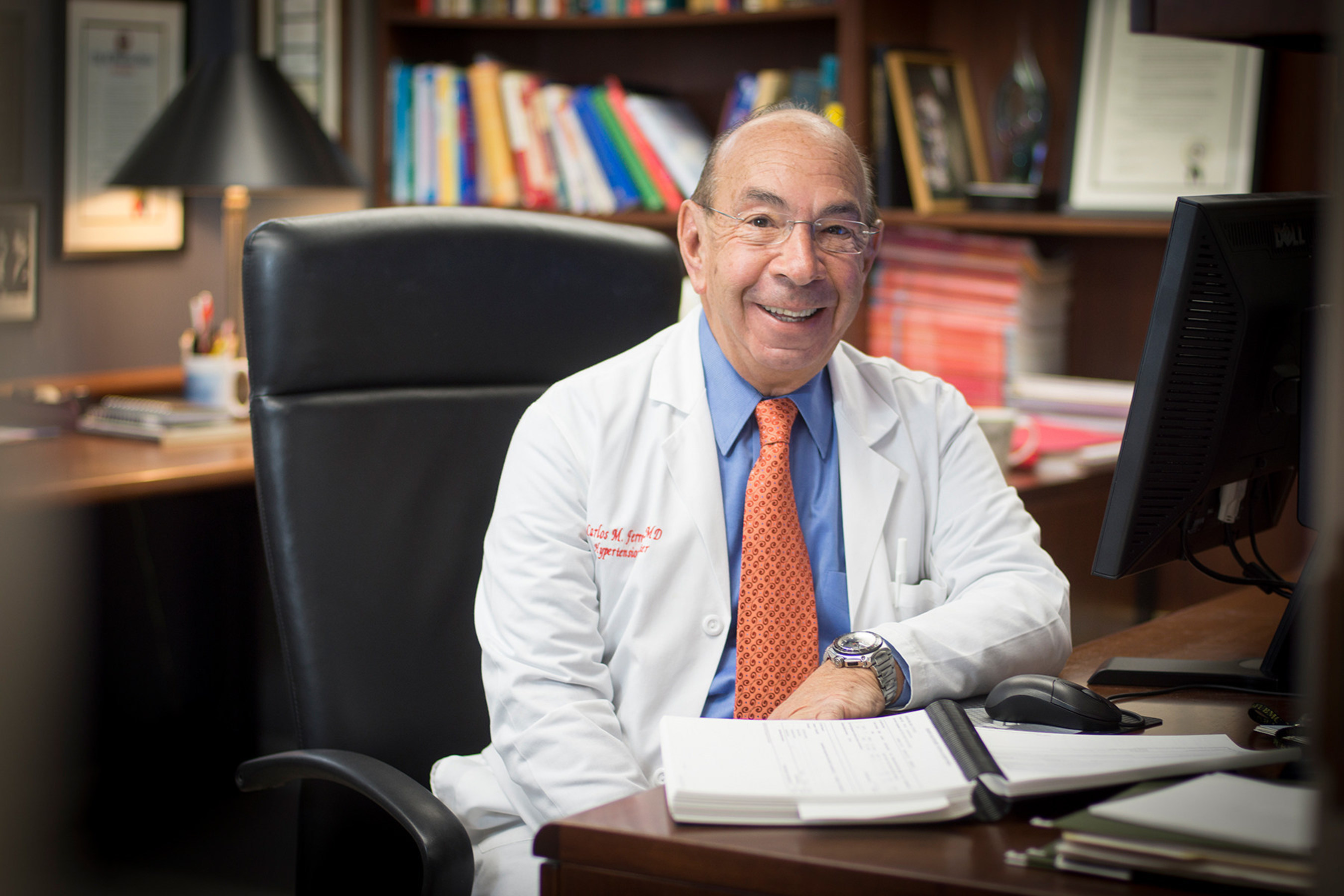 Dr. Carlos M. Ferrario, professor of surgery and founder of the Hypertension and Vascular Research Center at ...