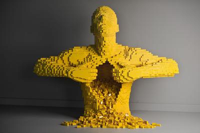 """Yellow"" by Nathan Sawaya.  (PRNewsFoto/Discovery Times Square)"