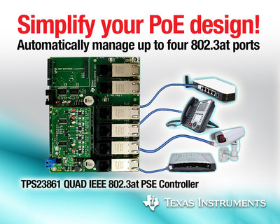 Power over Ethernet SIMPLIFIED - TPS23861 (PRNewsFoto/Texas Instruments Incorporated)
