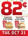 From breakfast through late night, Krystal is treating guests to an all-day deal for less than a dollar on October 21, 2014 as part of its 82nd anniversary celebration.