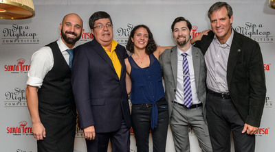 "Santa Teresa Rum's First-Ever ""Sip a Nightcap"" Cocktail Competition Winners and Judges from Left to Right: Nick Nistico (American Cut), Nestor Ortega (Master Distiller of Santa Teresa Rum), Jessica Gonzalez (The NoMad), Will Peet (Gin Palace and The NoMad) and Alberto Vollmer (Chairman and CEO of Santa Teresa Rum).  (PRNewsFoto/Hanna Lee Communications, Inc.)"