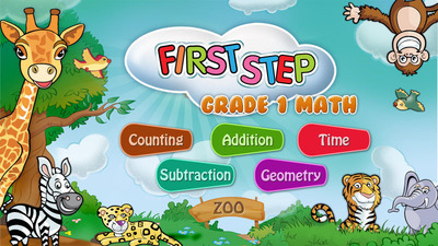 First Step Grade 1 Math: Zoo Picnic education app for Numbers, Counting, Addition, Subtraction, Geometry, Shapes, Time by LogTera.  (PRNewsFoto/LogTera Inc.)