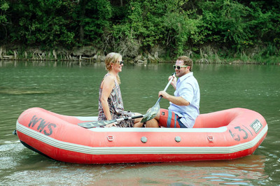 Lindsay and Dustin fell in love on the banks of the Guadalupe River in New Braunfels, Texas, and included a float down the river as part of their wedding reception! They love water recreation fun on New Braunfels' Guadalupe and Comal rivers, nearby Canyon Lake, and at the most popular waterpark in the world - Schlitterbahn. But in addition to water fun, New Braunfels offers romantic dining, wine, dancing, and great live music - perfect for falling in love with each other and New Braunfels. (PRNewsFoto/New Braunfels Convention & Visitors Bureau) (PRNewsFoto/NEW BRAUNFELS CONVENTION & ...)