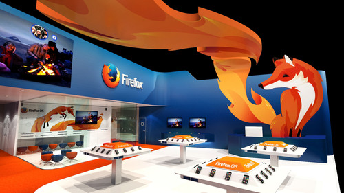 Mozilla's Firefox OS booth at MWC in Barcelona, Spain. (PRNewsFoto/Mozilla) (PRNewsFoto/MOZILLA)