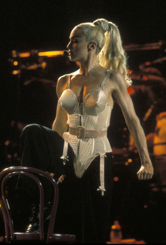 Blonde Ambition Pink Corset, designed by Jean Paul Gaultier, from Madonna's personal collection. Image ...