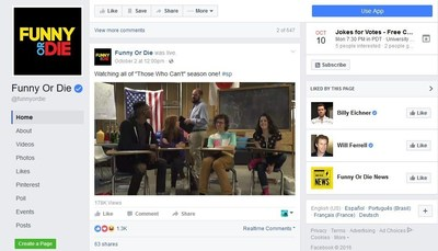Comedy video website and film/TV production company, Funny or Die is using LiveU Solo to drive fan engagement on Facebook