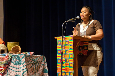 Leymah Gbowee speaking at Eastern Mennonite University. Gbowee was one of three women awarded the Nobel Peace Prize on Friday, Oct. 7, 2011.  (PRNewsFoto/Eastern Mennonite University)