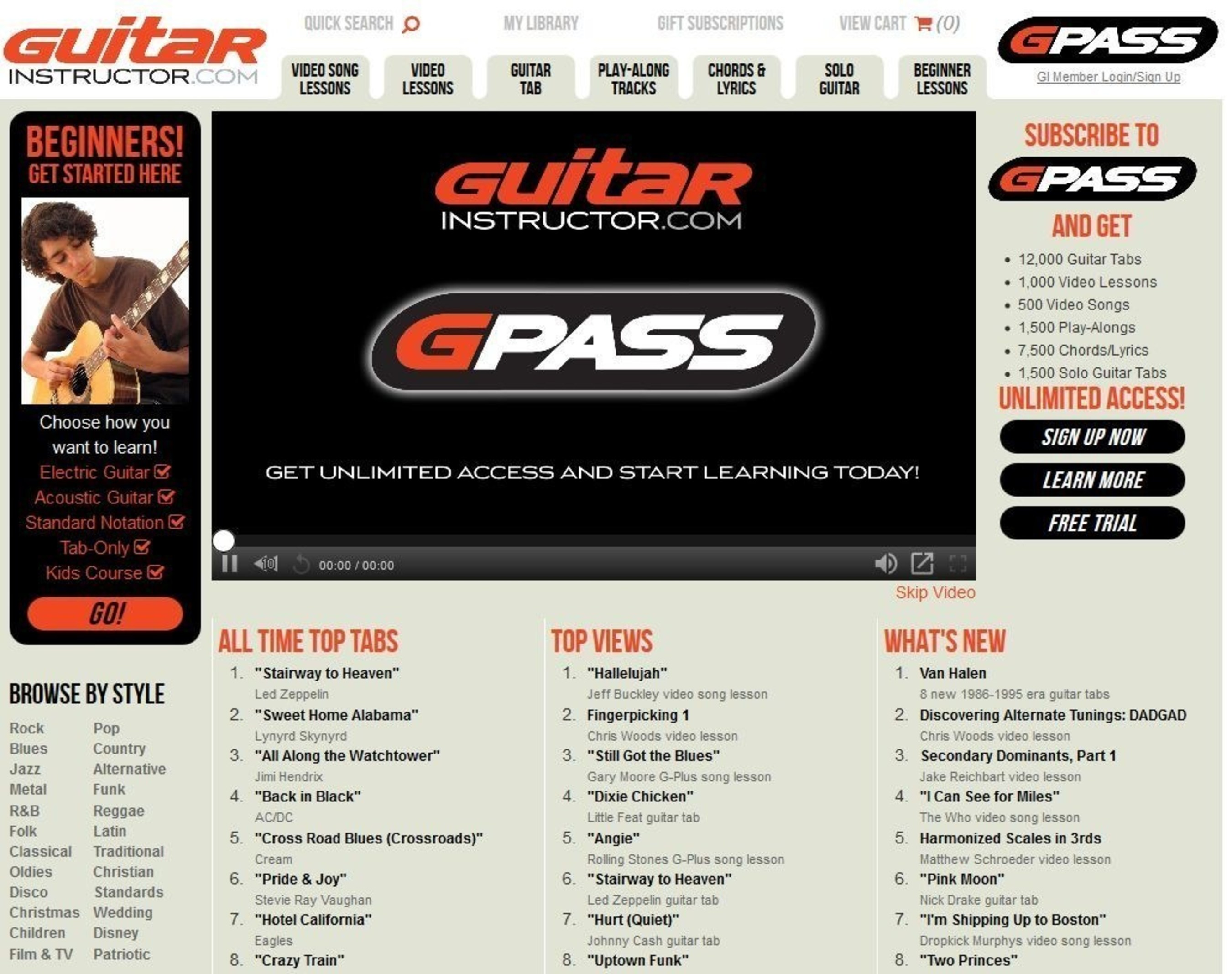Hal Leonard Launches All-New GuitarInstructor.com with All-Access G-PASS Subscription Option