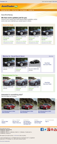 AutoTrader.com's new Alerts feature gives car shoppers the option of receiving a text and/or email when the price is reduced, a special offer is added or new inventory is added to a saved search or listing.  (PRNewsFoto/AutoTrader.com)