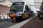 Dallas Area Rapid Transit (DART) train pulls into Dallas/Fort Worth International Airport. (PRNewsFoto/DFW International Airport)