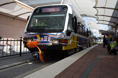 Dallas Area Rapid Transit (DART) train pulls into Dallas/Fort Worth International Airport.