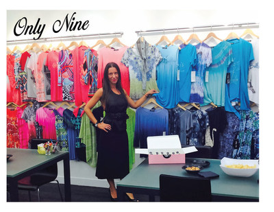 Jamie Gorman showing Only Nine Apparel's spring collection in New York showroom
