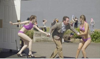 Comedy Web Series 'HOT BIKINI BEANS' starring Rachel Meyer (L), Brian Sutherland (M) and Carly Kingston (R)
