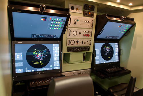 "The Modern Man Station (MMS) replaces current Cathode Ray Tube (CRT) technology with 30"" color LCD displays with touch screens and soft keys. Raytheon Company photo.    (PRNewsFoto/Raytheon Company)"
