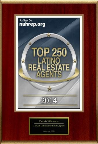 "Patricia Villanueva Selected For ""2014 Top 250 Latino Real Estate Agents"" (PRNewsFoto/American Registry)"
