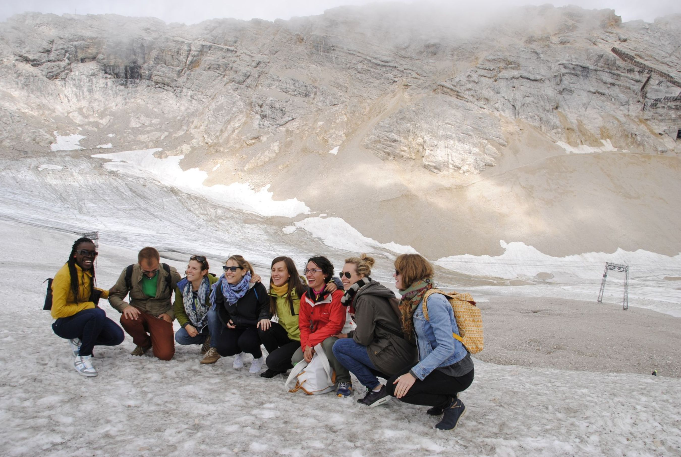 """Students and graduates visit the German Meteorological Service (DWD) on Germany's highest mountain """"Zugspitze"""" near Munich, Germany. During the 2015 edition of Climate-KIC's European """"The Journey"""" summer school programme international participants will offer a unique combination of science and entrepreneurship. It will be a crash course to identify opportunities in climate change and how to set up a startup to commercialize solutions. (PRNewsFoto/Climate-KIC)"""