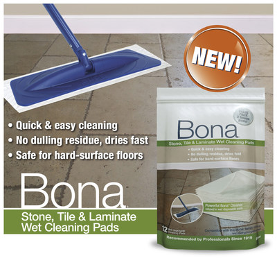 Bona Launches Quick & Easy Stone, Tile & Laminate Wet Cleaning Pads! (PRNewsFoto/Bona US)