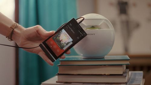 Music playing on an Xperia smartphone transferred to a speaker with a single touch.