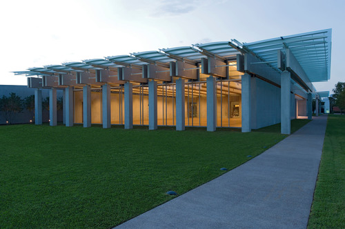 South view, Renzo Piano Pavilion, September 2013. Kimbell Art Museum, Fort Worth, Texas. Photo by Robert ...