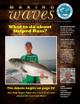 The cover of the Spring, 2014 edition of Making Waves, the electronic newsletter of the Recreational Fishing Alliance (RFA).