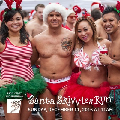Runners celebrating after the annual Santa Skivvies Run.