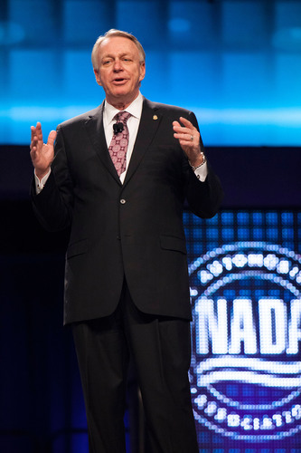 David Westcott, chairman of the National Automobile Dealers Association, delivers keynote remarks at the NADA ...