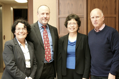 Newly appointed Cal/OSHA Chief Juliann Sum with (pictured left to right) CA Department of Industrial Relations Director Christine Baker, CA Labor and Workforce Development Agency Secretary David Lanier, and Governor Edmund G. Brown Jr. (PRNewsFoto/California Department of Industr)