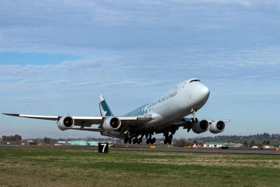 Cathay Pacific Airways 747-8F departing Portland International Airport