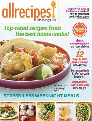 Allrecipes Newsstand Pilot Cover.  (PRNewsFoto/Meredith Corporation)