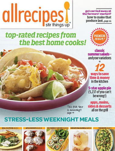 Allrecipes Newsstand Pilot Cover.  (PRNewsFoto/Meredith Corporation)