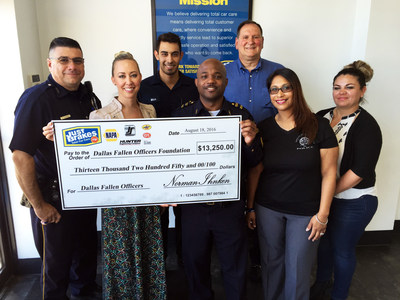 Dallas-based Just Brakes Total Car Care makes donation to Dallas Fallen Officer Foundation on August 24, 2016.