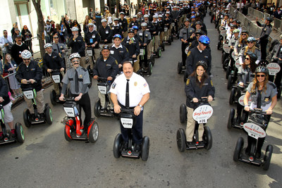 """Kevin James, star of """"Paul Blart: Mall Cop 2,"""" joins security guards to successfully set two GUINNESS WORLD RECORDS(TM) titles on Segways."""