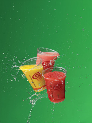 A summer favorite returns for a limited time -- The Jamba(R) Fruit Refreshers with coconut water come in three flavors: Strawberry Lemonade, Tropical Mango and the newest flavor, Watermelon Splash(TM).  (PRNewsFoto/Jamba Juice Company)