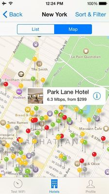Hotel WiFi Test app for iPhone