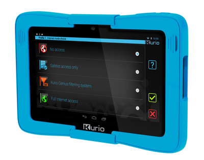 Kurio 7s Android 4.2 tablet for families with kids by Techno Source. Parents can tailor Internet access settings to each child by choosing from recommended age settings, blocking specific websites and inappropriate terms or creating safe lists that only allow access to specific approved sites. Kurio family devices feature the Kurio Genius(TM) Internet filtering system with advanced security levels and daily auto-updates covering more than 450 million websites (and counting) in 170 different languages.  (PRNewsFoto/Techno Source)